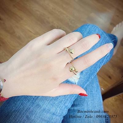 Nhẫn vàng 10k tim phồng dáng hở freesize NNU148