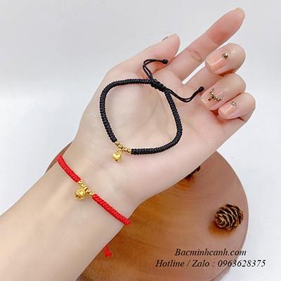 Vòng tay chỉ đỏ mix chuông và bi vàng 24k LTNU217