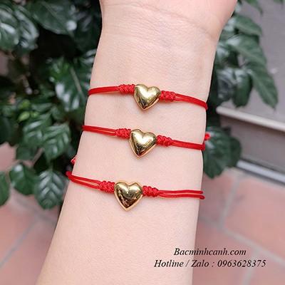 Vòng tay chỉ đỏ trái tim bạc xi vàng LTNU222