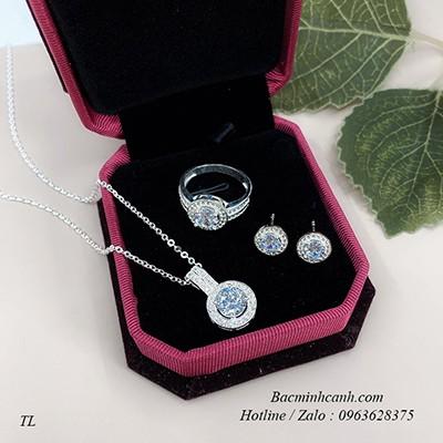 Bộ trang sức bạc đính đá tròn BTS086
