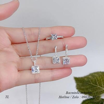 Bộ trang sức bạc nữ đá vuông lấp lánh BTS087