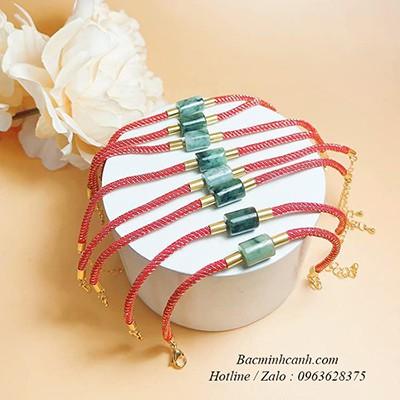 Vòng tay lu thống cẩm thạch mix dây vải LTNU242