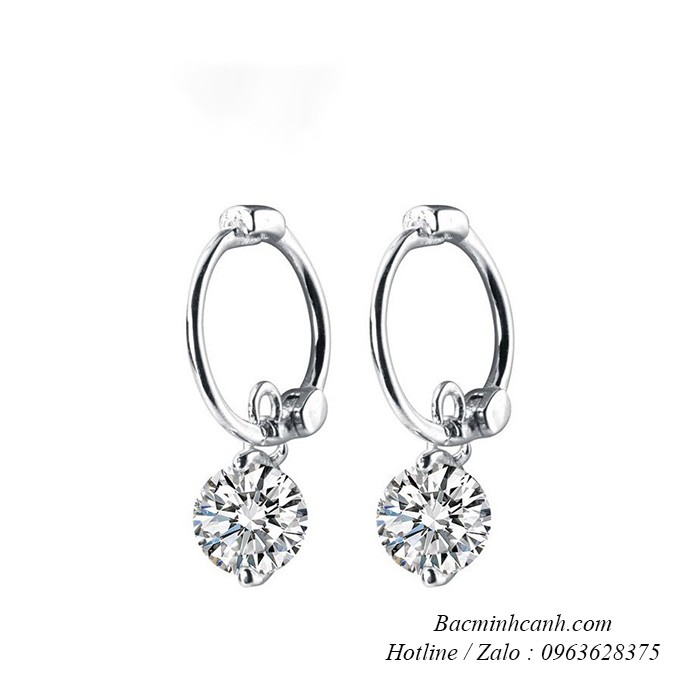 Khuyên tai treo đá bạc 925 – BT221