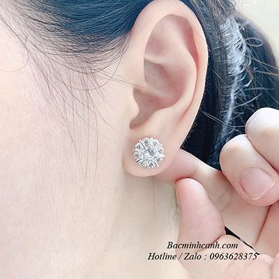 Bông tai bạc hoa đính đá BT228