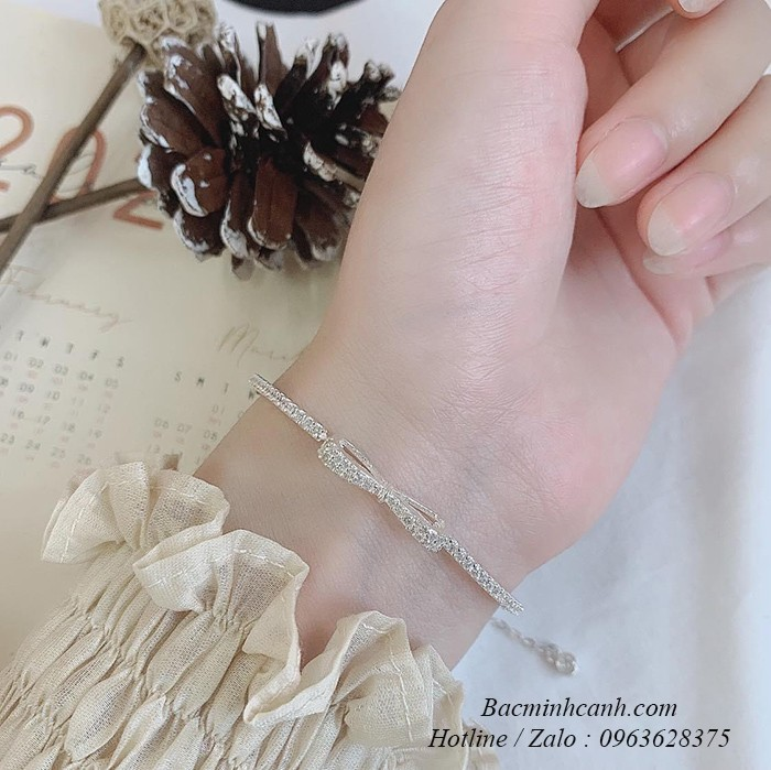 Lắc tay bạc nữ hình nơ đính đá LTNU260