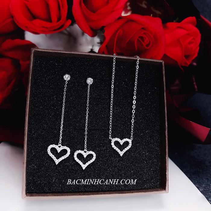 Bộ trang sức bạc trái tim BTS092