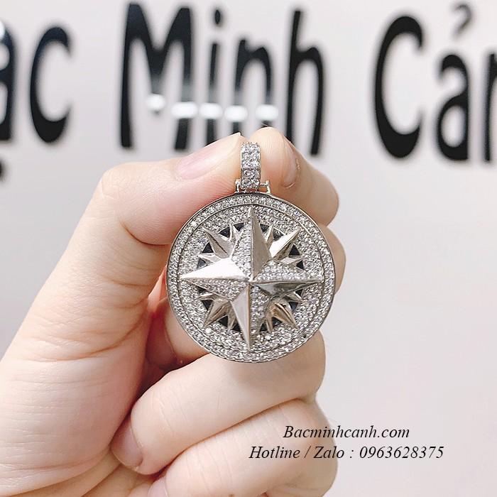 Mặt dây chuyền nam ngôi sao bạc xi bạch kim MN051