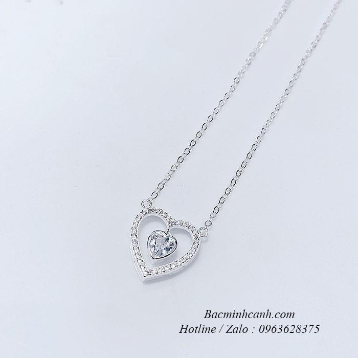 Dây chuyền trái tim đá giữa bạc Ý S925 DCNU294