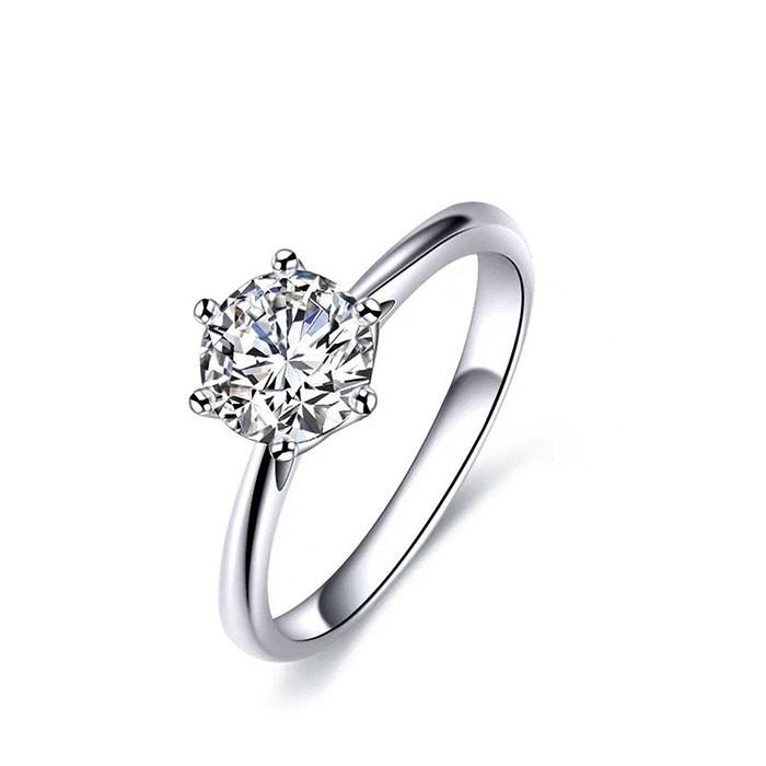 Nhẫn bạc nữ 6 chấu trơn đá 6 li NU161